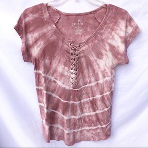 American Eagle Lace Up Tie Dye Tee